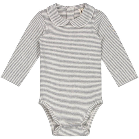 Striped Baby Bodysuit with Collar in Grey Melange by Gray Label - Junior Edition