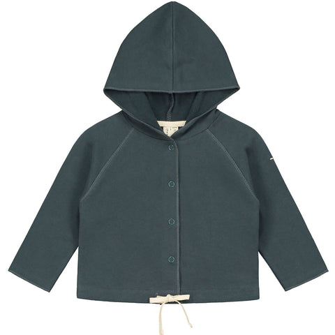 Baby Hooded Cardigan in Blue Grey by Gray Label - Junior Edition