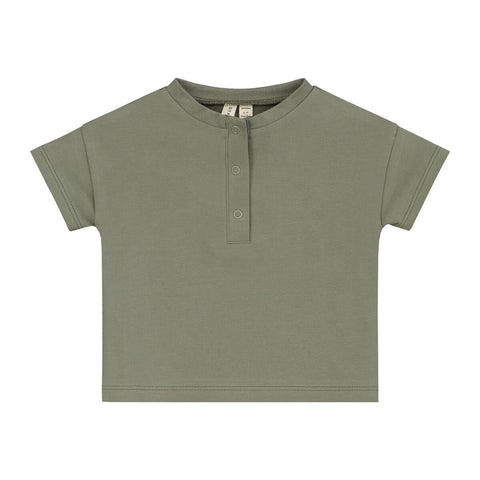 Baby Short Sleeve Henley Tee in Moss by Gray Label