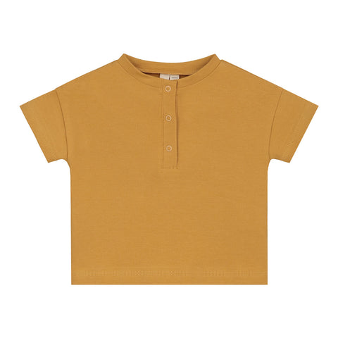 Baby Short Sleeve Henley Tee in Mustard by Gray Label