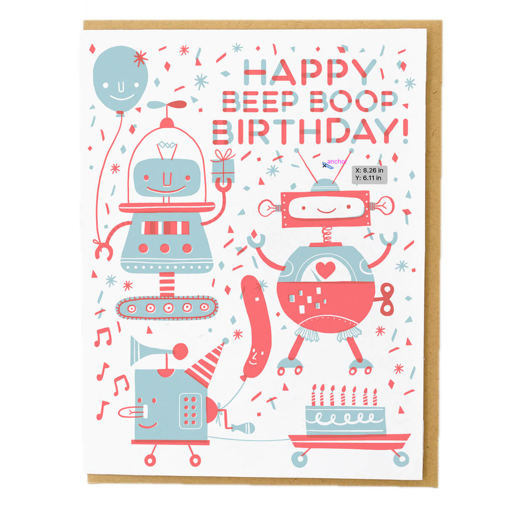 Beep Boop Birthday Greetings Card by Hello! Lucky - Junior Edition