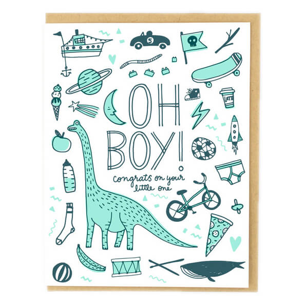 Oh Boy! Greetings Card by Hello! Lucky - Junior Edition