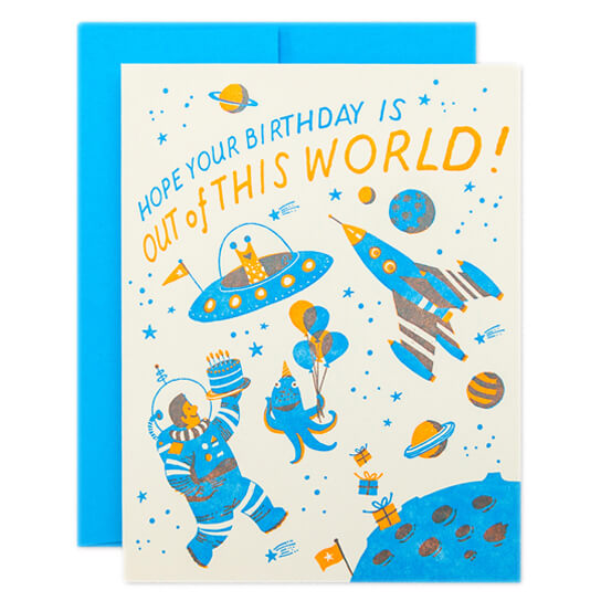 Space Birthday Greetings Card by Hello! Lucky - Junior Edition