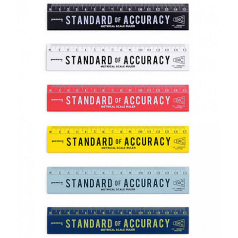 Wooden 15cm Ruler (Various Colours) by Penco