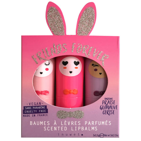 Bunny Lip Balm Trio in Rose by Inuwet - Junior Edition