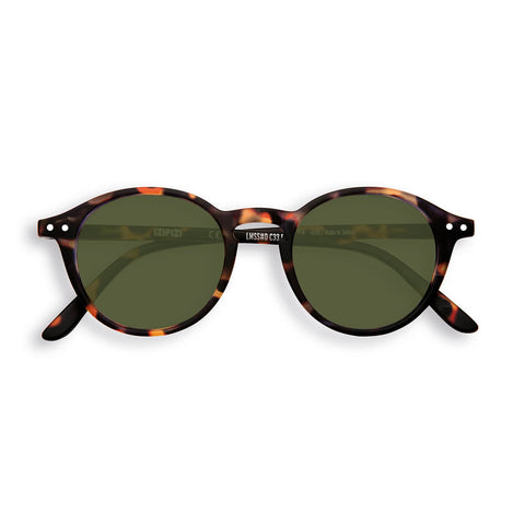 Sun Adult Sunglasses #D in Brown Tortoise (Green Lens) by Izipizi