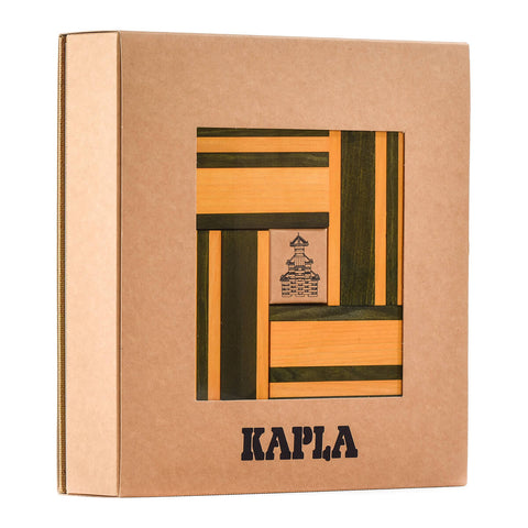 Two Colour Plank Set: Simple Architecture in Green and Yellow By Kapla