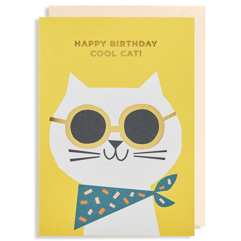 Happy Birthday Cool Cat Greetings Card by Ekaterina Trukan for Lagom Design