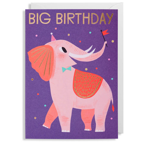Big Birthday Elephant Greetings Card by Allison Black for Lagom Design - Junior Edition