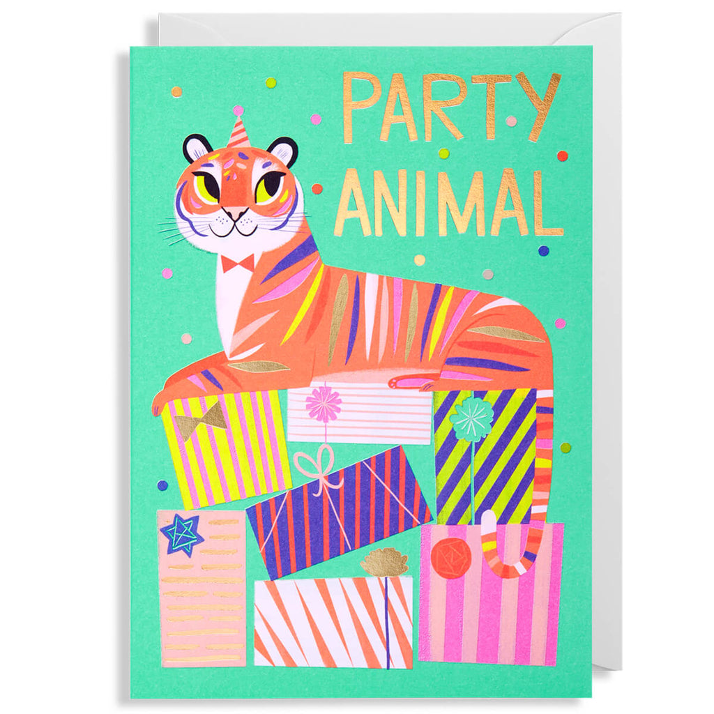 Party Animal Tiger Greetings Card by Allison Black for Lagom Design - Junior Edition