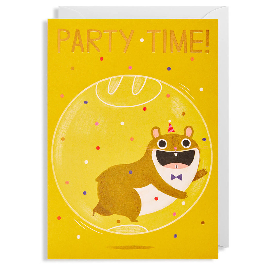 Party Time Hamster Greetings Card by Allison Black for Lagom Design - Junior Edition