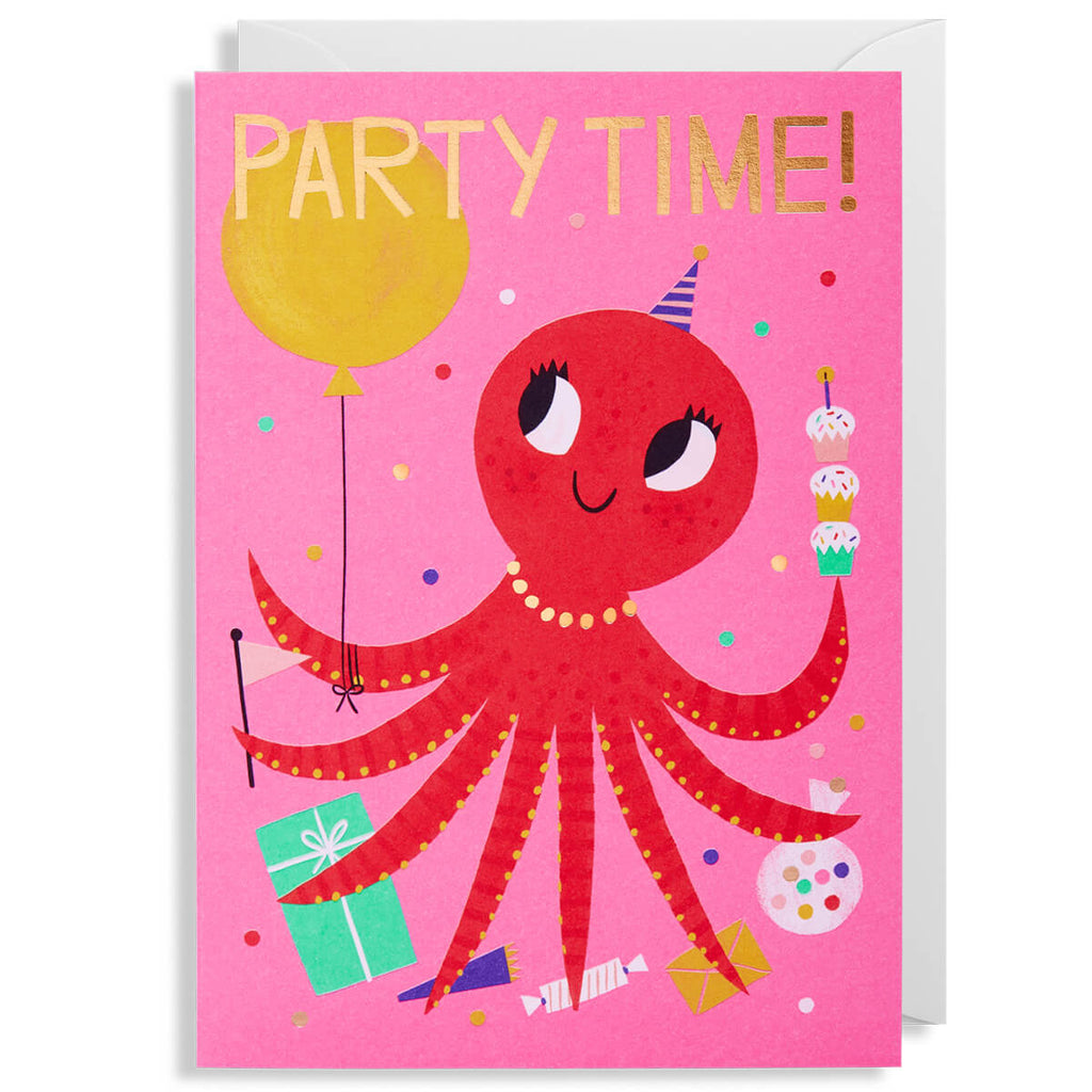 Party Time Octopus Greetings Card by Allison Black for Lagom Design - Junior Edition