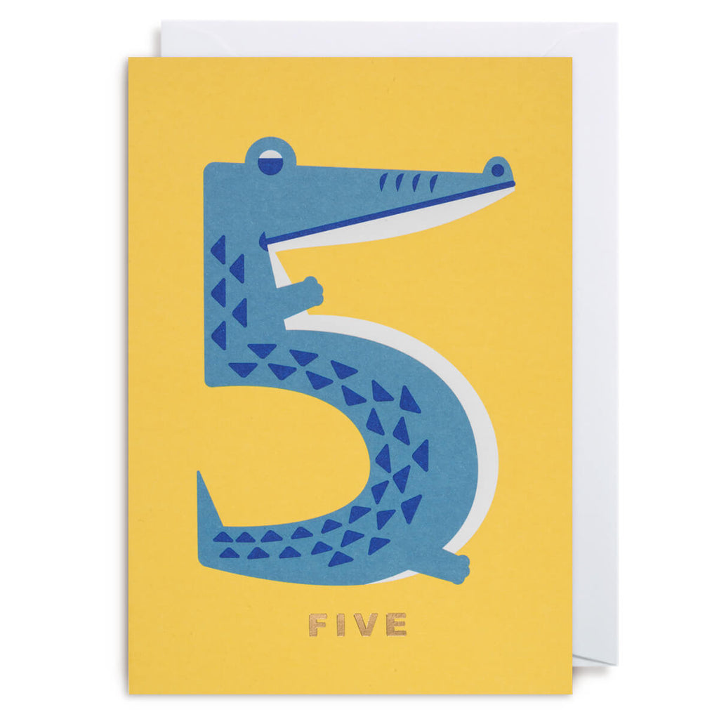 Number Five Crocodile Greetings Card by Cozy Tomato for Lagom Design - Junior Edition