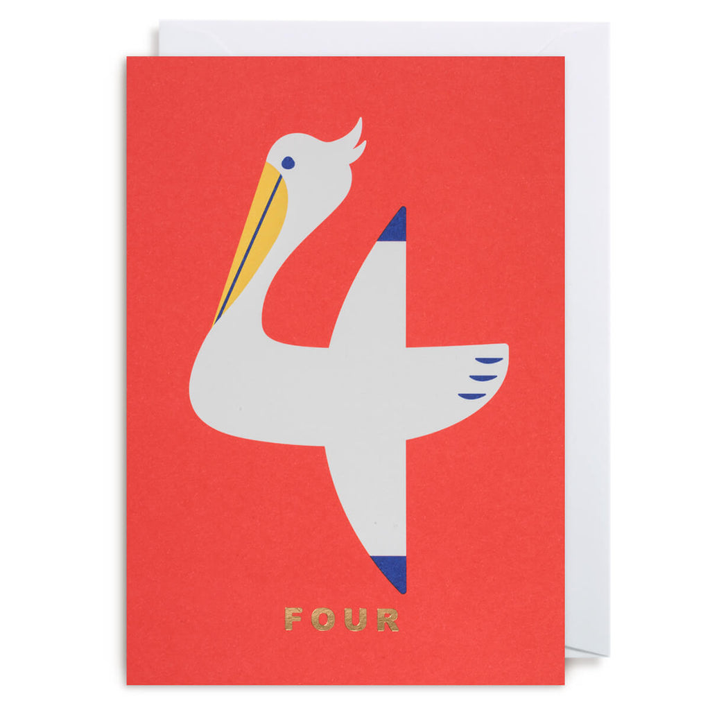 Number Four Pelican Greetings Card by Cozy Tomato for Lagom Design - Junior Edition