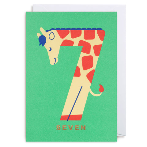 Number Seven Giraffe Greetings Card by Cozy Tomato for Lagom Design