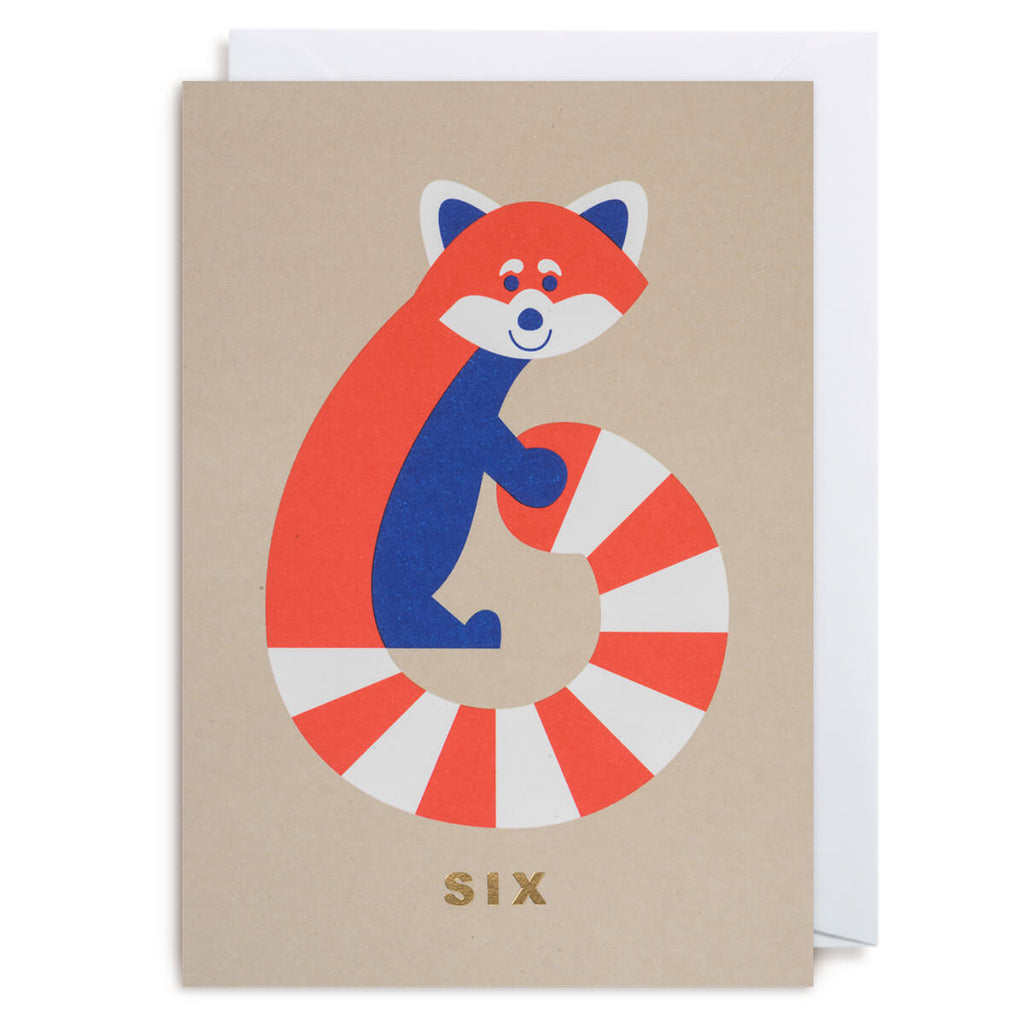 Number Six Raccoon Greetings Card by Cozy Tomato for Lagom Design - Junior Edition