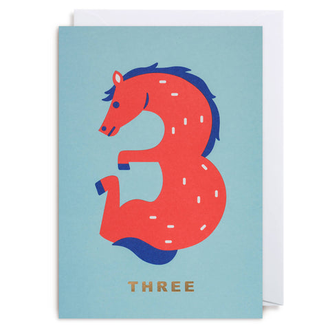 Number Three Horse Greetings Card by Cozy Tomato for Lagom Design