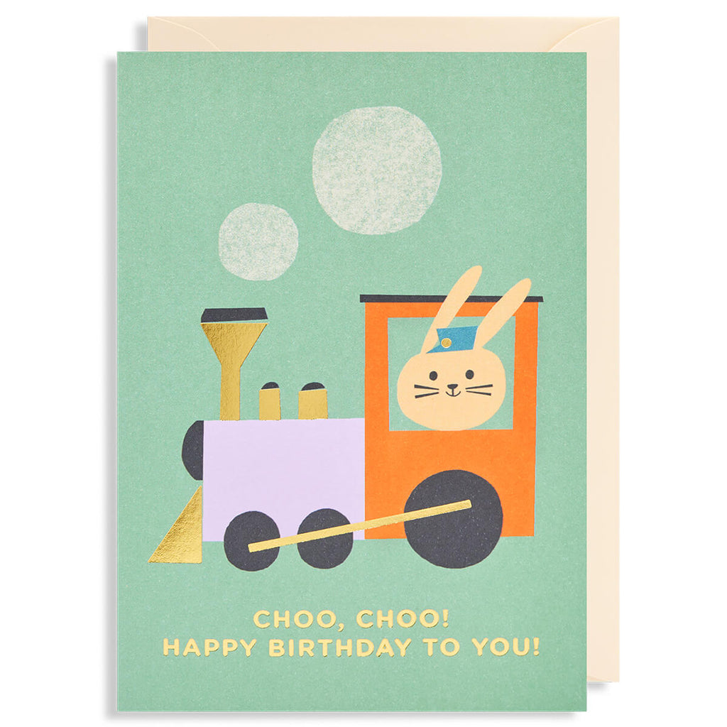 Choo, Choo!  Happy Birthday To You Greetings Card by Ekaterina Trukan for Lagom Design - Junior Edition