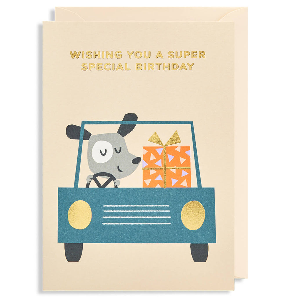 Super Special Birthday Car Greetings Card by Ekaterina Trukan for Lagom Design - Junior Edition