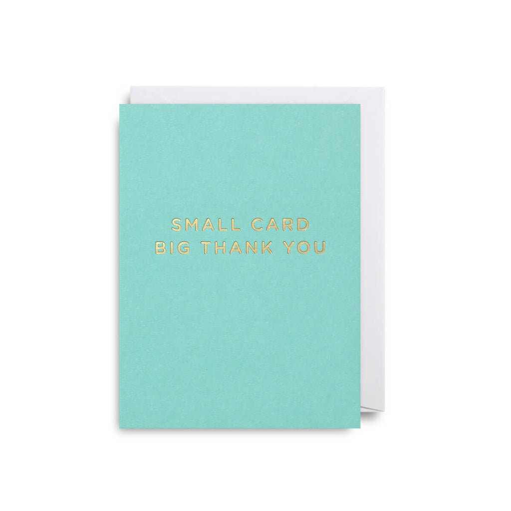 Small Card Big Thank You Blue Mini Greetings Card by Cherished for Lagom Design - Junior Edition