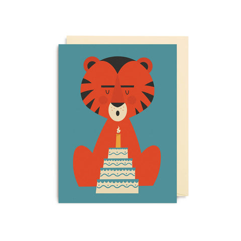 Birthday Cake Tiger Mini Greetings Card by David Ryski for Lagom Design