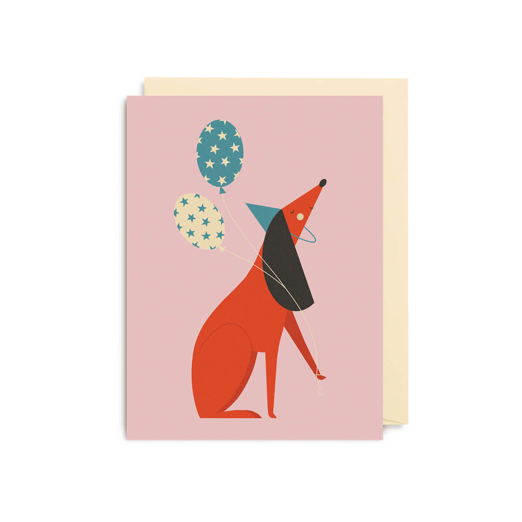 Dog Balloons Mini Greetings Card by David Ryski for Lagom Design - Junior Edition