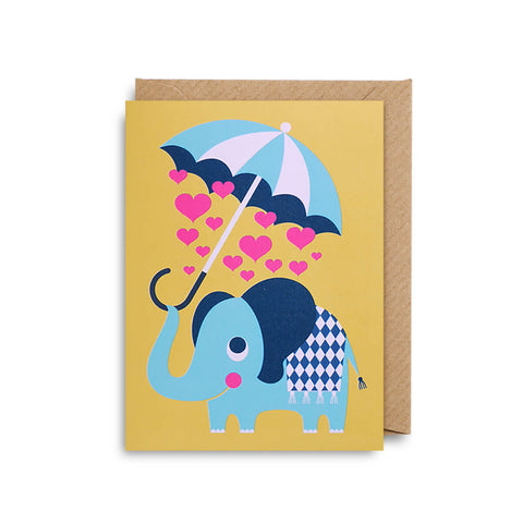 Elephant Love Mini Greetings Card by Ingela P. Arrhenius for Lagom Design