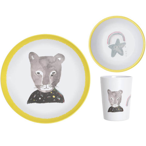 Pax & Hart Panther Dinner Set in Yellow by Lapin & Me - Junior Edition