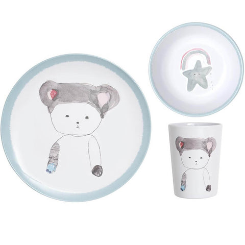 Pax & Hart Peaches Dinner Set in Blue by Lapin & Me - Junior Edition