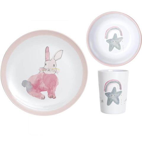 Pax & Hart Pink Bunny Dinner Set in Pink by Lapin & Me - Junior Edition