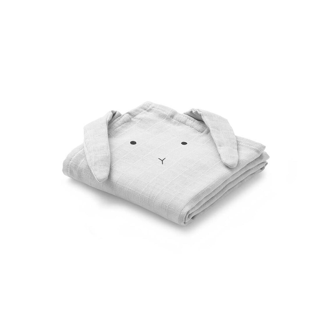 Hannah Rabbit Muslin Cloths Set Of 2 in Dumbo Grey by Liewood - Junior Edition