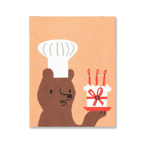 Baker Bear Mini Greetings Card by Lisa Jones Studio - Junior Edition