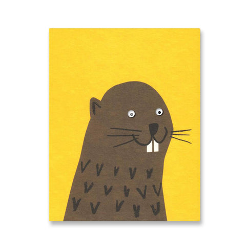 Beaver Mini Greetings Card by Lisa Jones Studio - Junior Edition