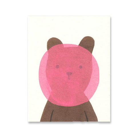 Bubblegum Bear Mini Greetings Card by Lisa Jones Studio