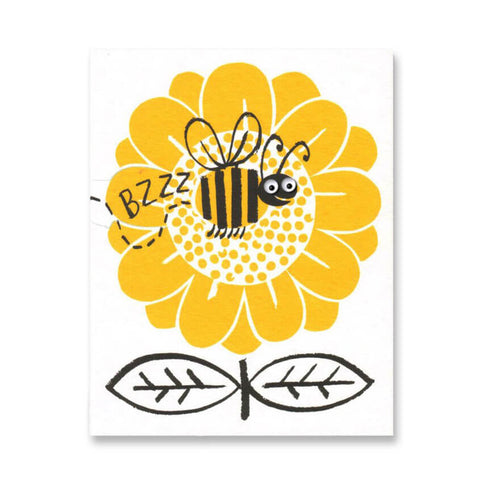 Buzzing Bee Mini Greetings Card by Lisa Jones Studio
