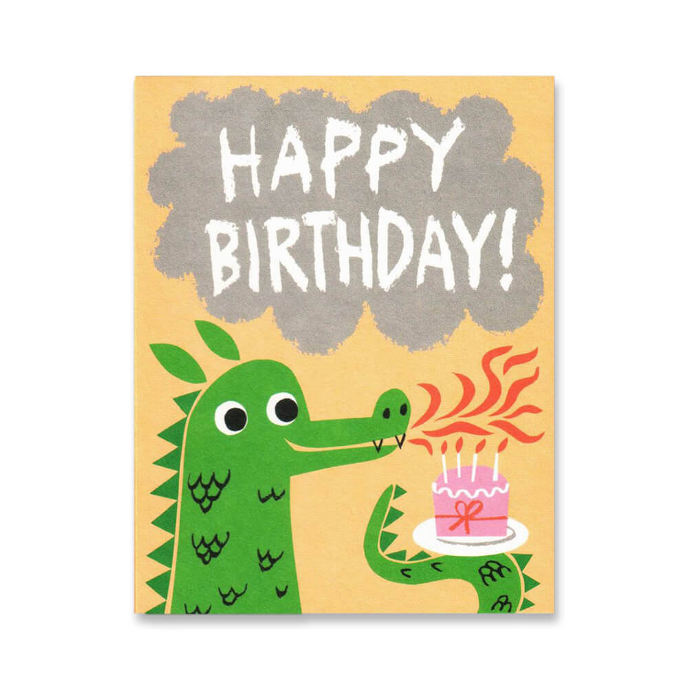 Dragon Breath Mini Greetings Card by Lisa Jones Studio - Junior Edition