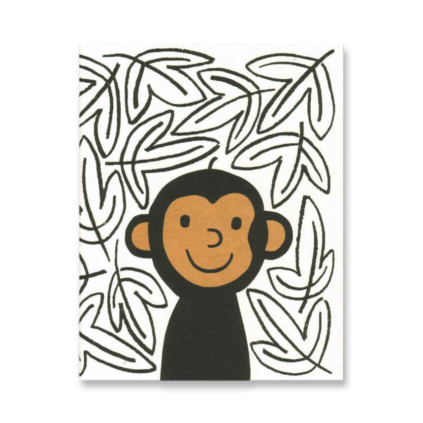 Monkey Mini Greetings Card by Lisa Jones Studio - Junior Edition