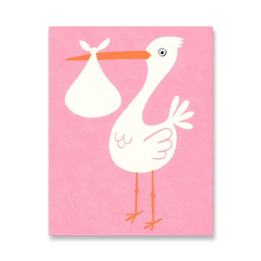 Pink Stork Mini Greetings Card by Lisa Jones Studio - Junior Edition