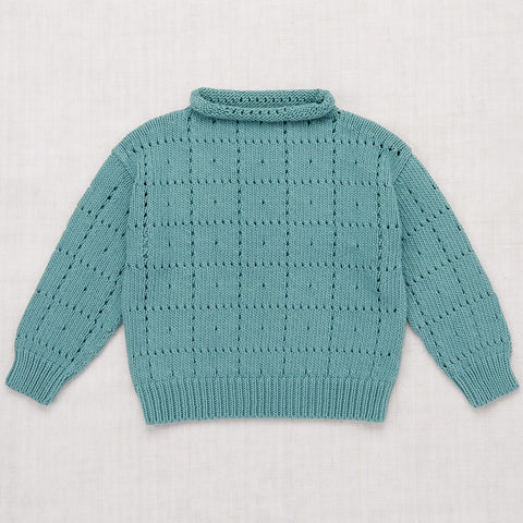 Windowpane Pullover in Dusty Blue by Misha & Puff