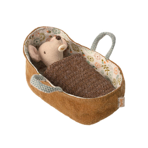 Baby Mouse in a Carrycot (Brown Knitted Blanket) by Maileg