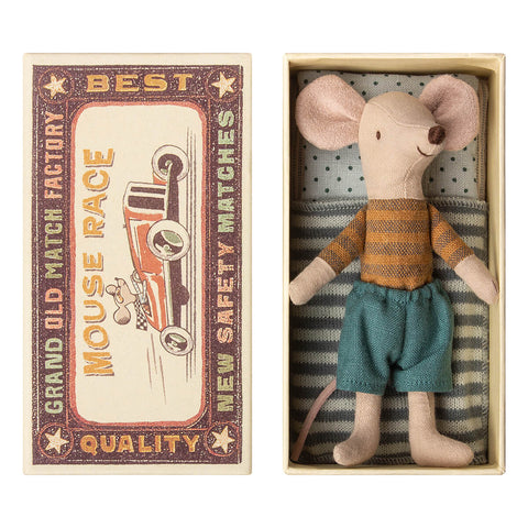 Big Brother Mouse in a Matchbox (Striped T Shirt and Linen Pants) by Maileg