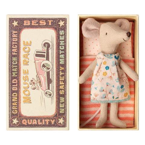 Big Sister Mouse in a Matchbox (Floral Dress) by Maileg