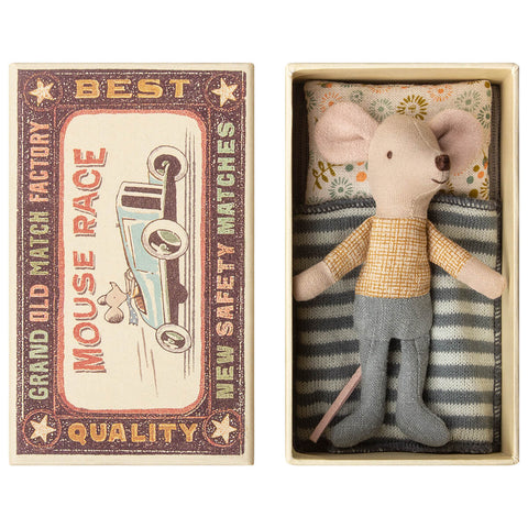 Little Brother Mouse in a Matchbox (Yellow Shirt And Jeans) by Maileg