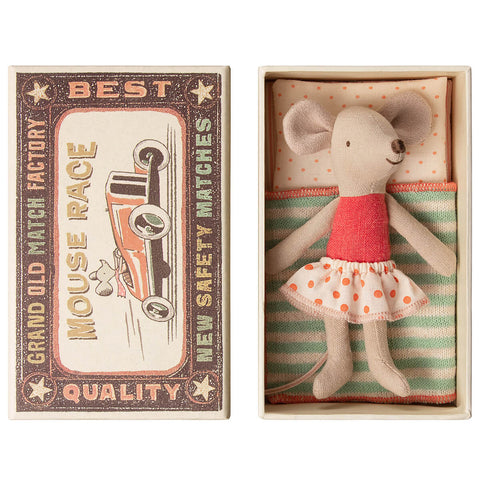 Little Sister Mouse in a Matchbox (Polkadot Skirt) by Maileg
