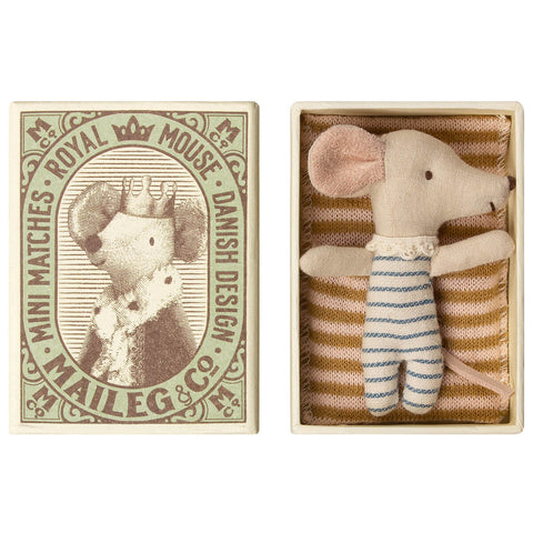 Sleepy / Wakey Baby Mouse in a Matchbox (Boy) by Maileg