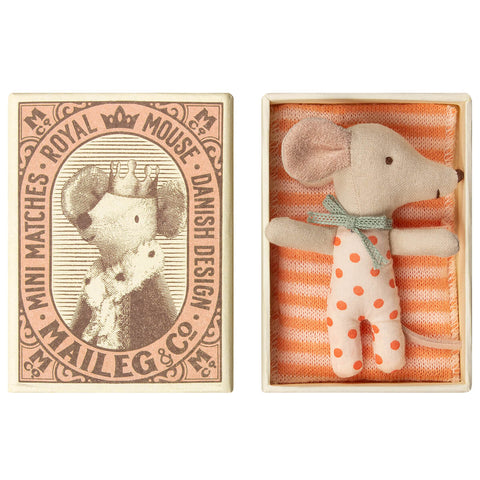Sleepy / Wakey Baby Mouse in a Matchbox (Girl) by Maileg