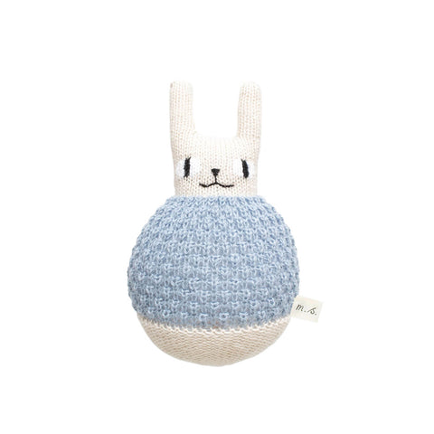 Rabbit Roly Poly Soft Toy in Blue by Main Sauvage - Junior Edition