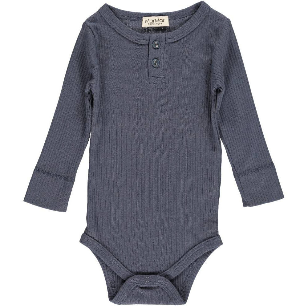 Rib Bodysuit in Blue by MarMar Copenhagen - Junior Edition