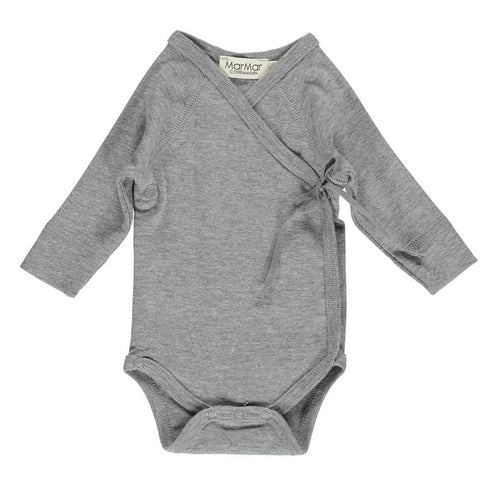 Wrap Bodysuit in Grey Melange by MarMar Copenhagen - Junior Edition