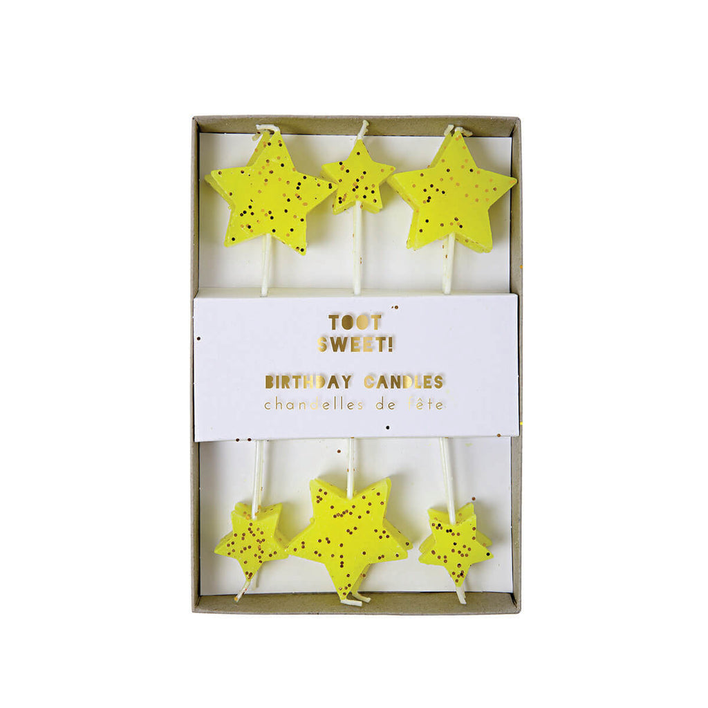 Yellow Star Candles by Meri Meri - Junior Edition